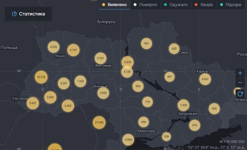 Карта по заболеваемости коронавирусом в Украине.
