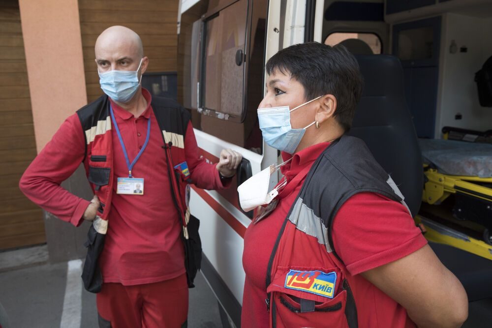 Работники Центра экстренной медицинской помощи и медицины катастроф Киева №1