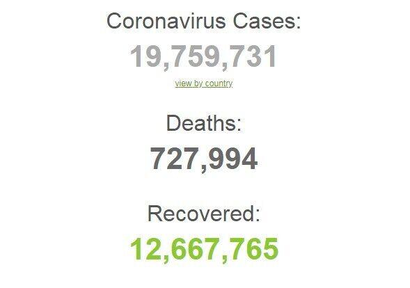 Коронавирусом в мире заразились более 19,7 млн человек.