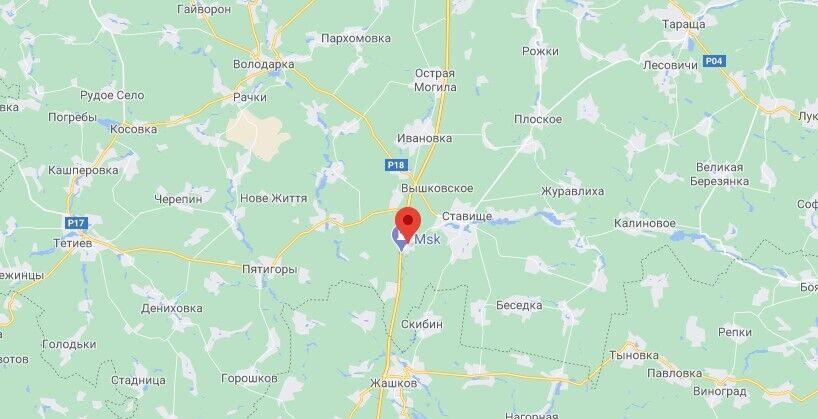 Возле села Снежки Киевской области загорелся автобус.