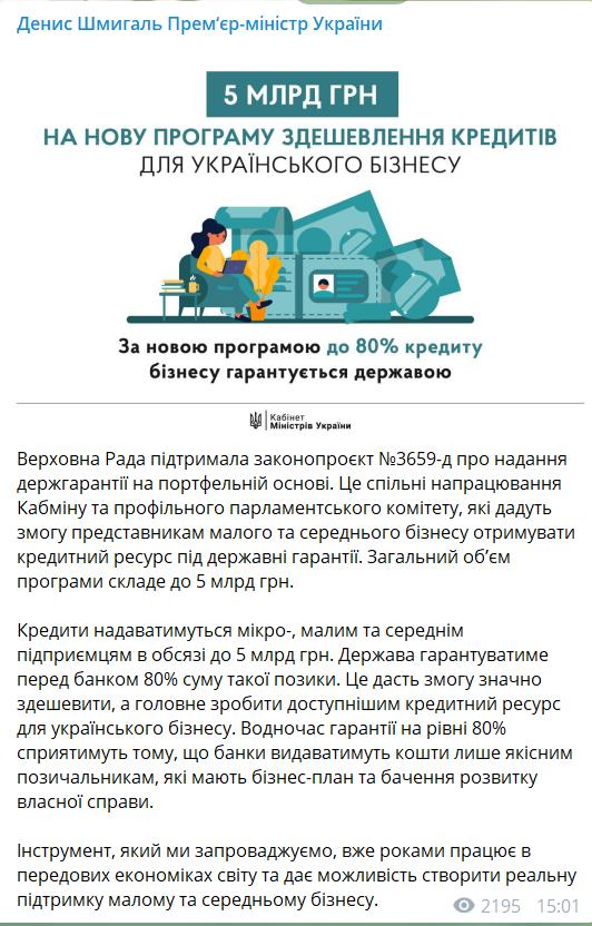 Підприємцям даватимуть кредити під державні гарантії.