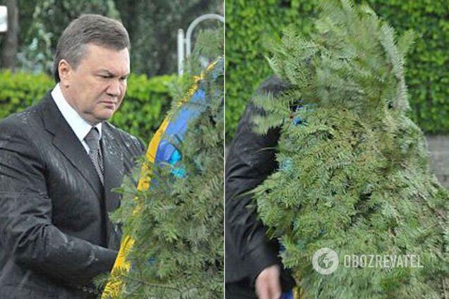 Як на Януковича впав вінок