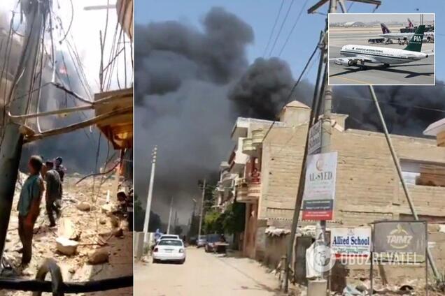 Пассажирский самолет разбился в жилом квартале Пакистана