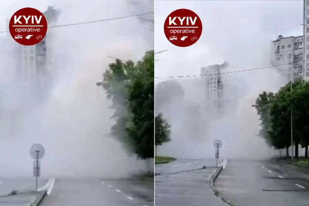 """В Киеве посреди улицы образовался """"фонтан"""""""