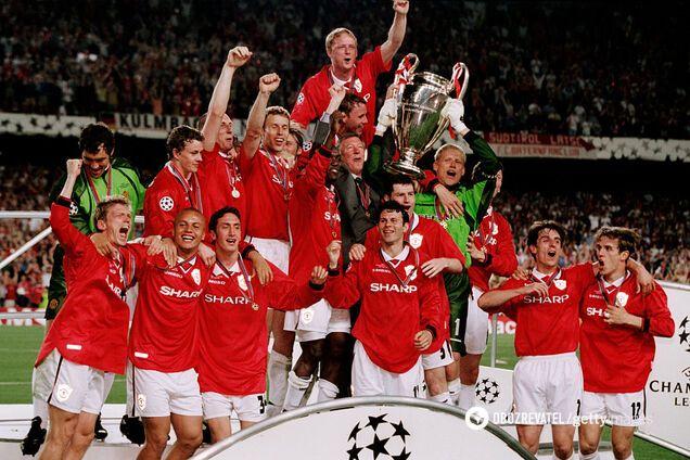"""""""Манчестер Юнайтед"""" празднует победу в Лиге чемпионов 1998/99"""