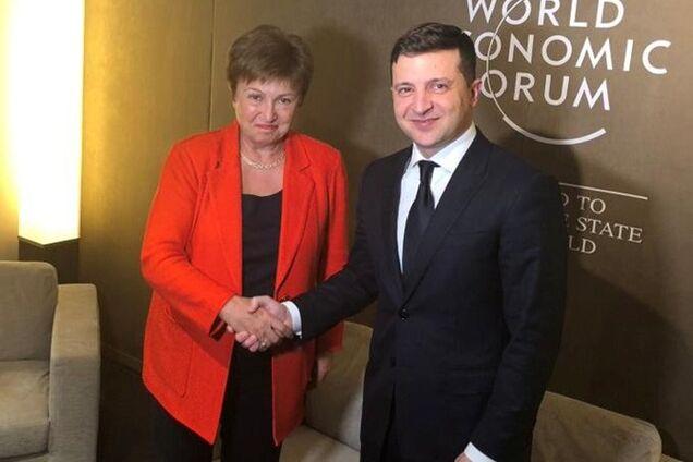 Георгієва і Зеленський на економічному форумі в Давосі в січні 2020 року. Ілюстрація