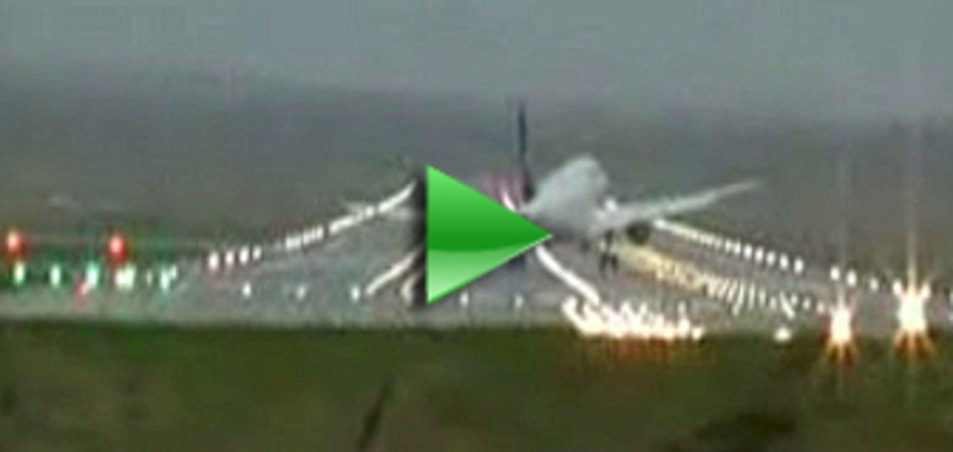 'Аеробус' здуло вітром при посадці