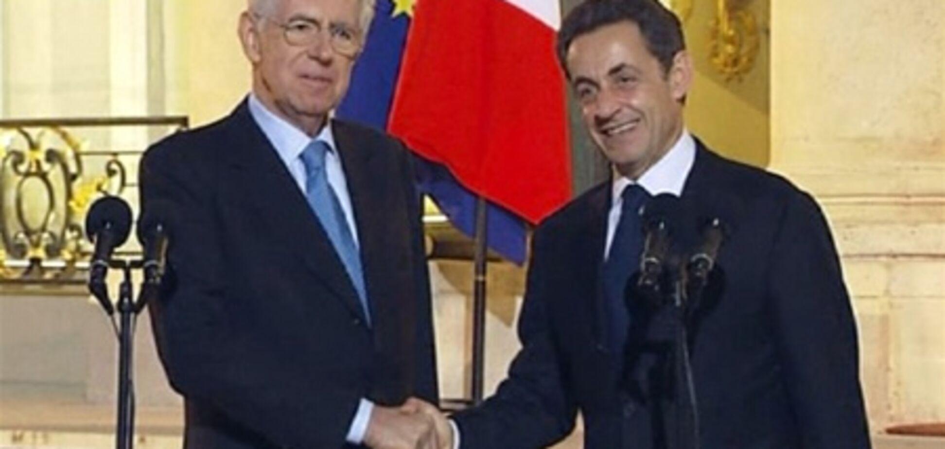 Саркозі і Монті закликали ЄС до більшої згуртованості в боротьбі з борговою кризою