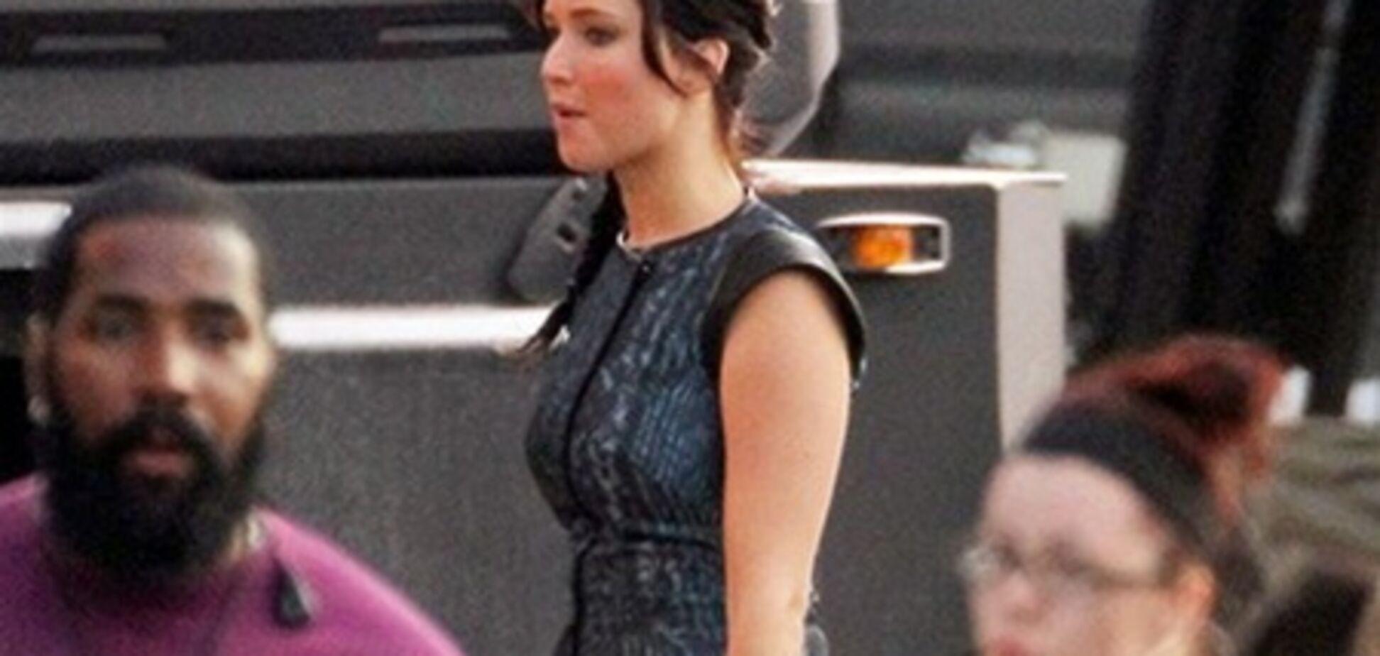 Дженнифер Лоуренс на съемках сиквела 'Голодных игр'