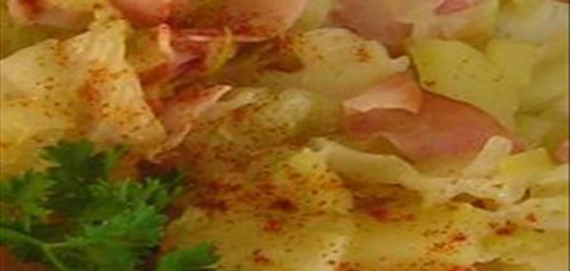 Тушеная капуста с картошкой и ветчиной