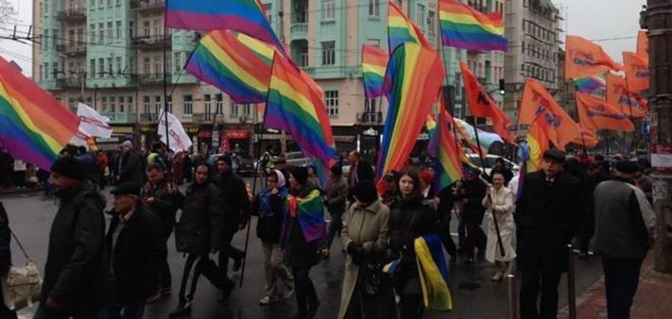 В шествии оппозиции приняли участие активисты ЛГБТ-сообщества