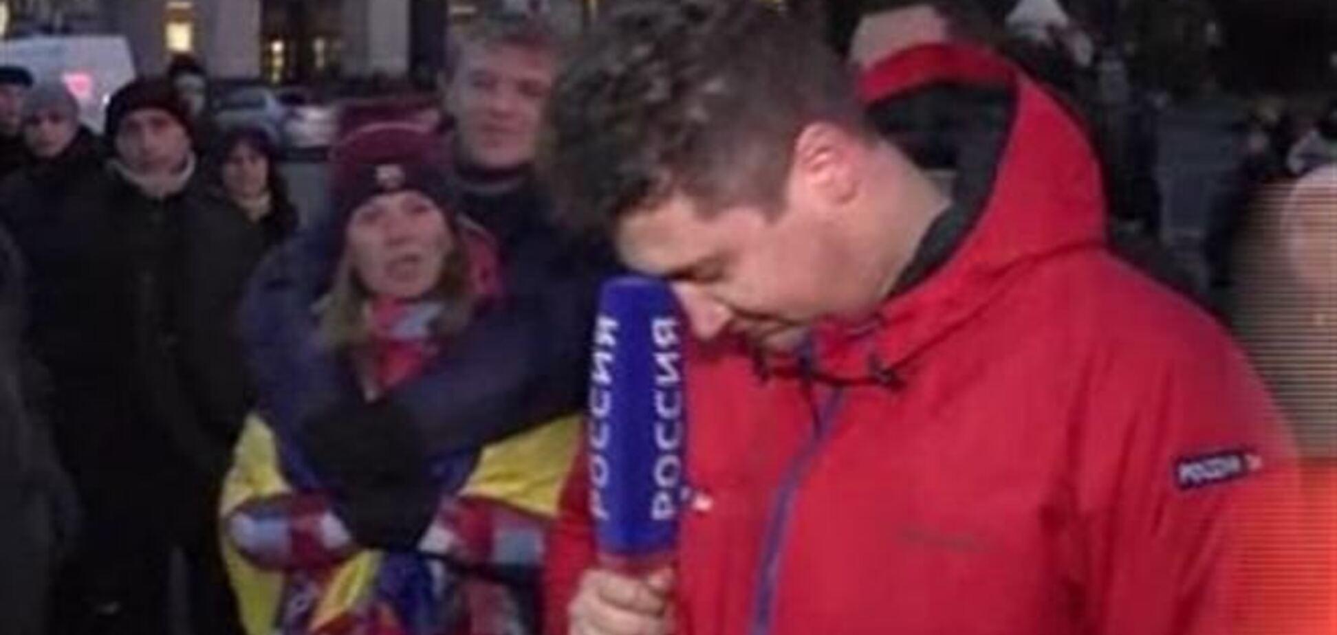 Российскому журналисту пришлось работать на Евромайдане под крики 'Говори правду!'
