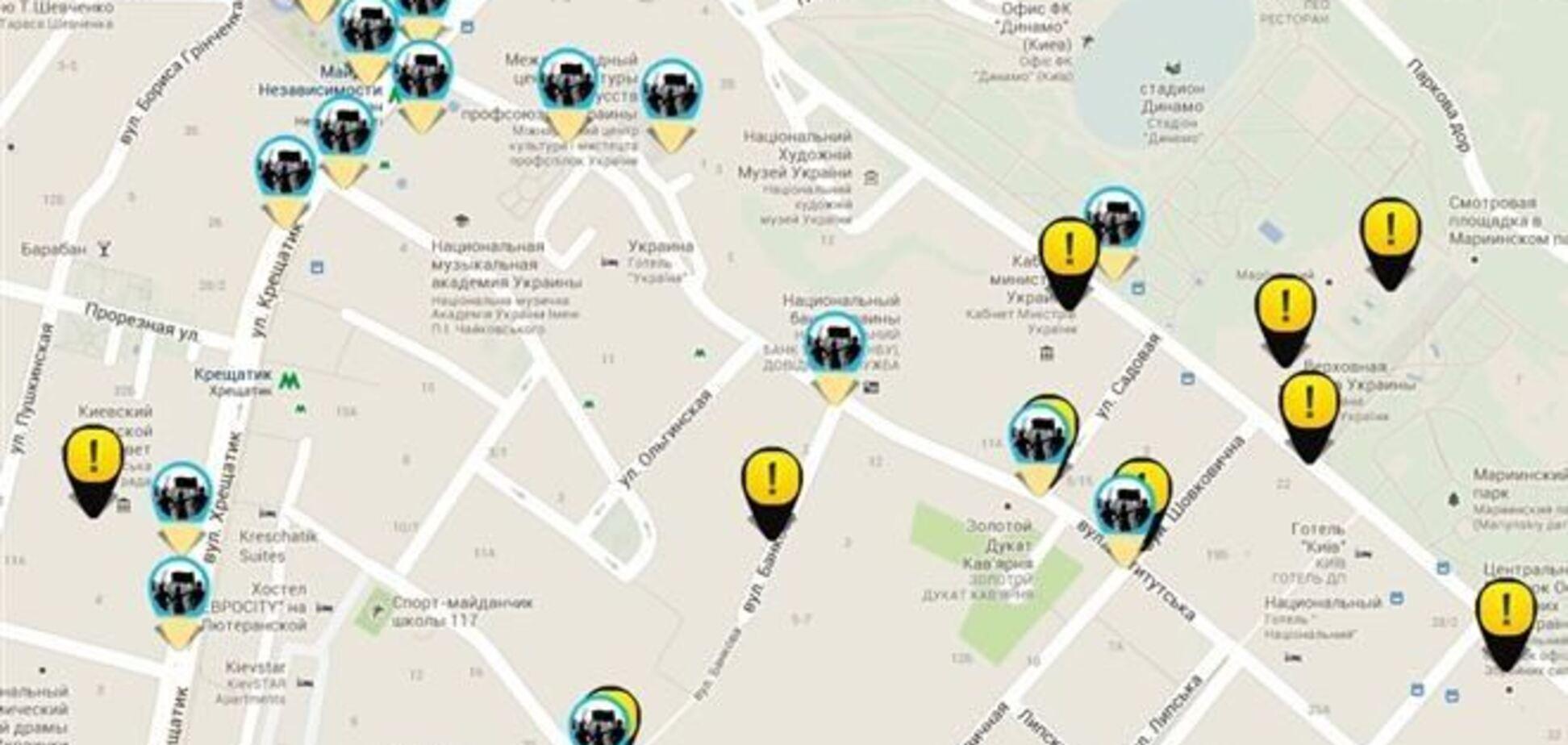 Новый киевский сайт показывает, где находится 'Беркут' и проходят митинги