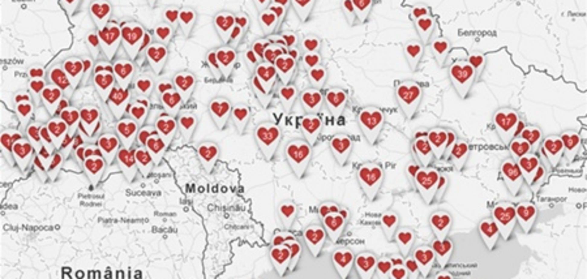 Карта самых романтичных мест Украины