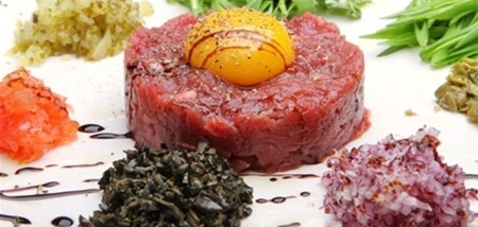 Тартар из говядины с козьим сыром