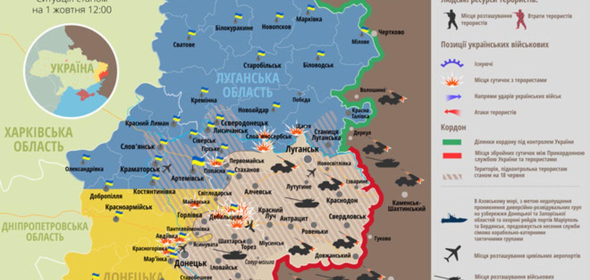 Террористы все интенсивнее 'перестреливаются' 'Градами': карта АТО