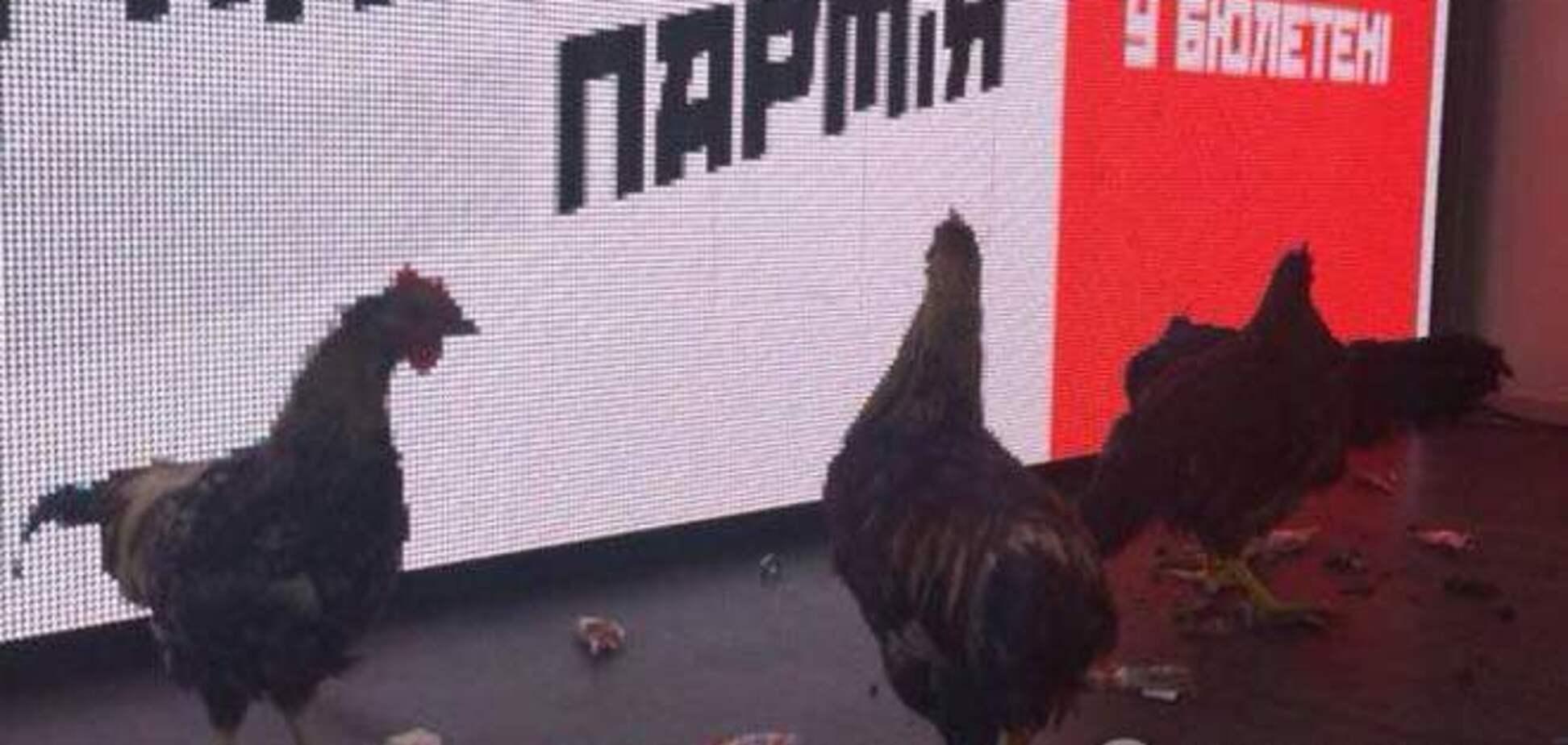Ляшко в Орджоникидзе встретили избиратели с петухами и матерными плакатами