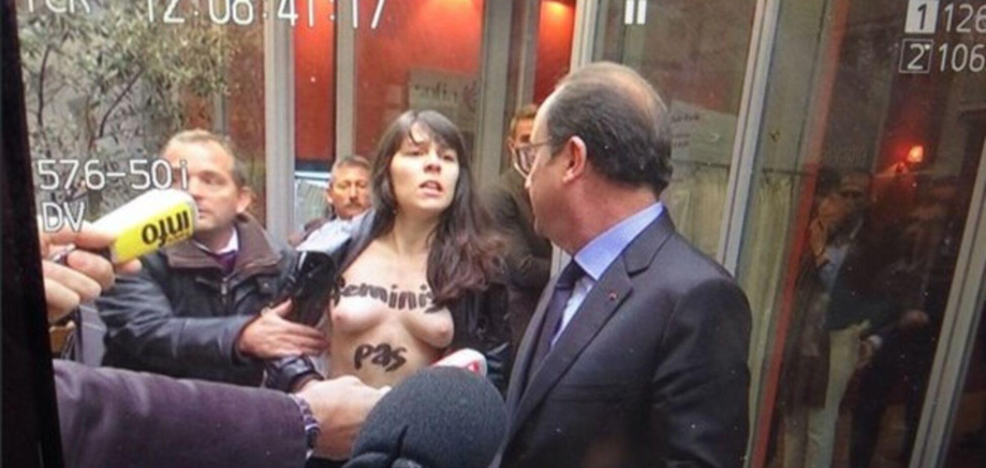 Активистка Femen разделась перед президентом Франции: опубликовано видео