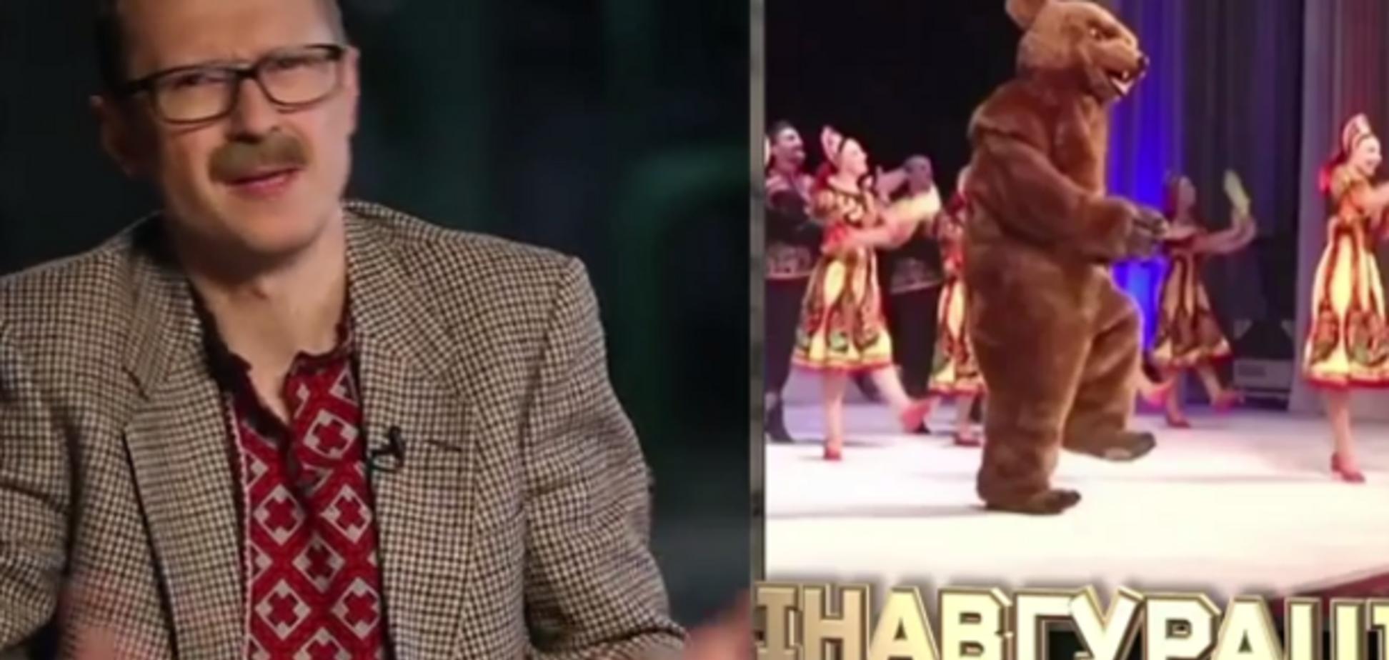 Майкл Щур показал, кто танцевал в костюме медведя на 'инаугурации' террориста Захарченко: опубликовано видео