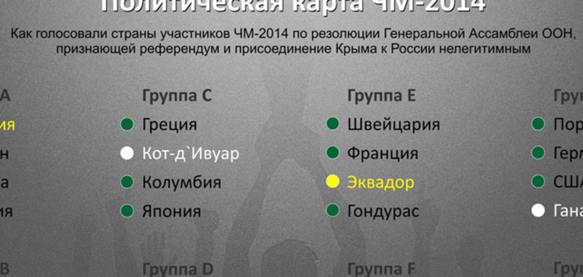 Болеть нельзя освистывать. Какие страны ЧМ-2014 не осудили аннексию Крыма