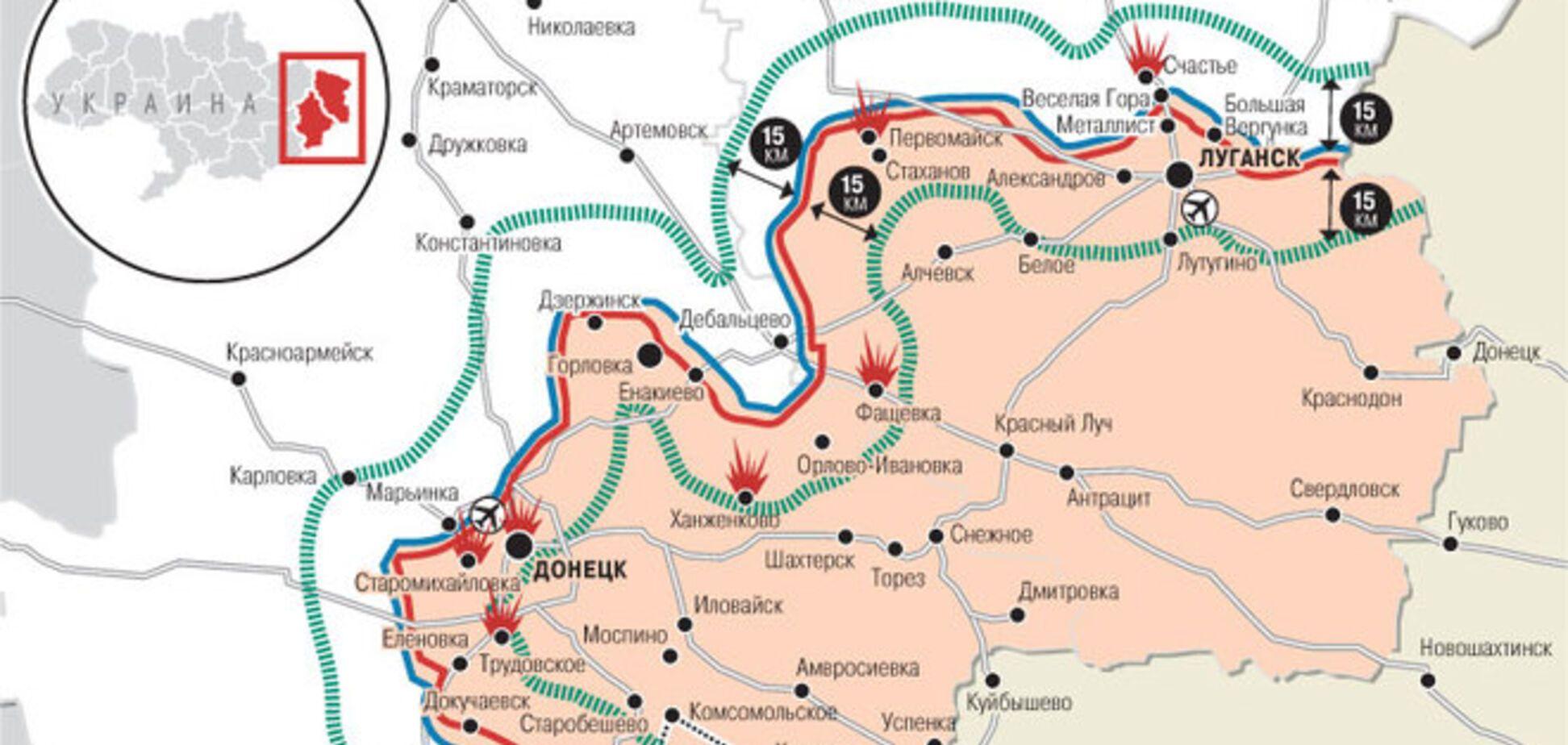 Опубликована карта предполагаемой буферной зоны на Донбассе