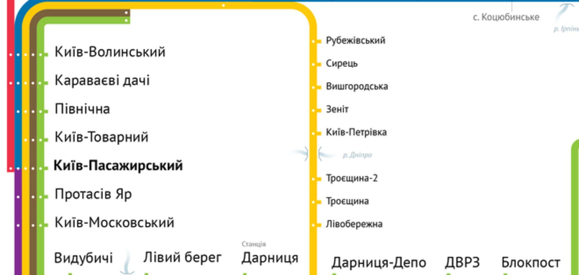 Опублікована нова схема київської міської електрички