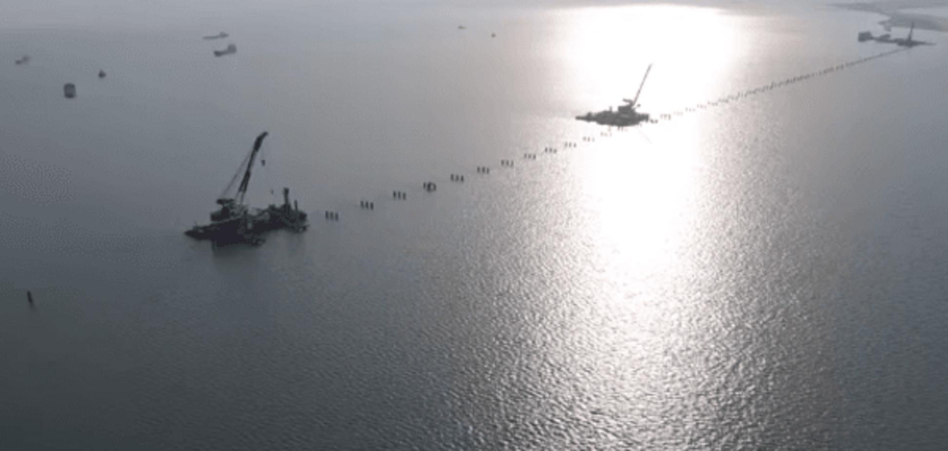 У мережу виклали відео будівництва мосту через Керченську протоку