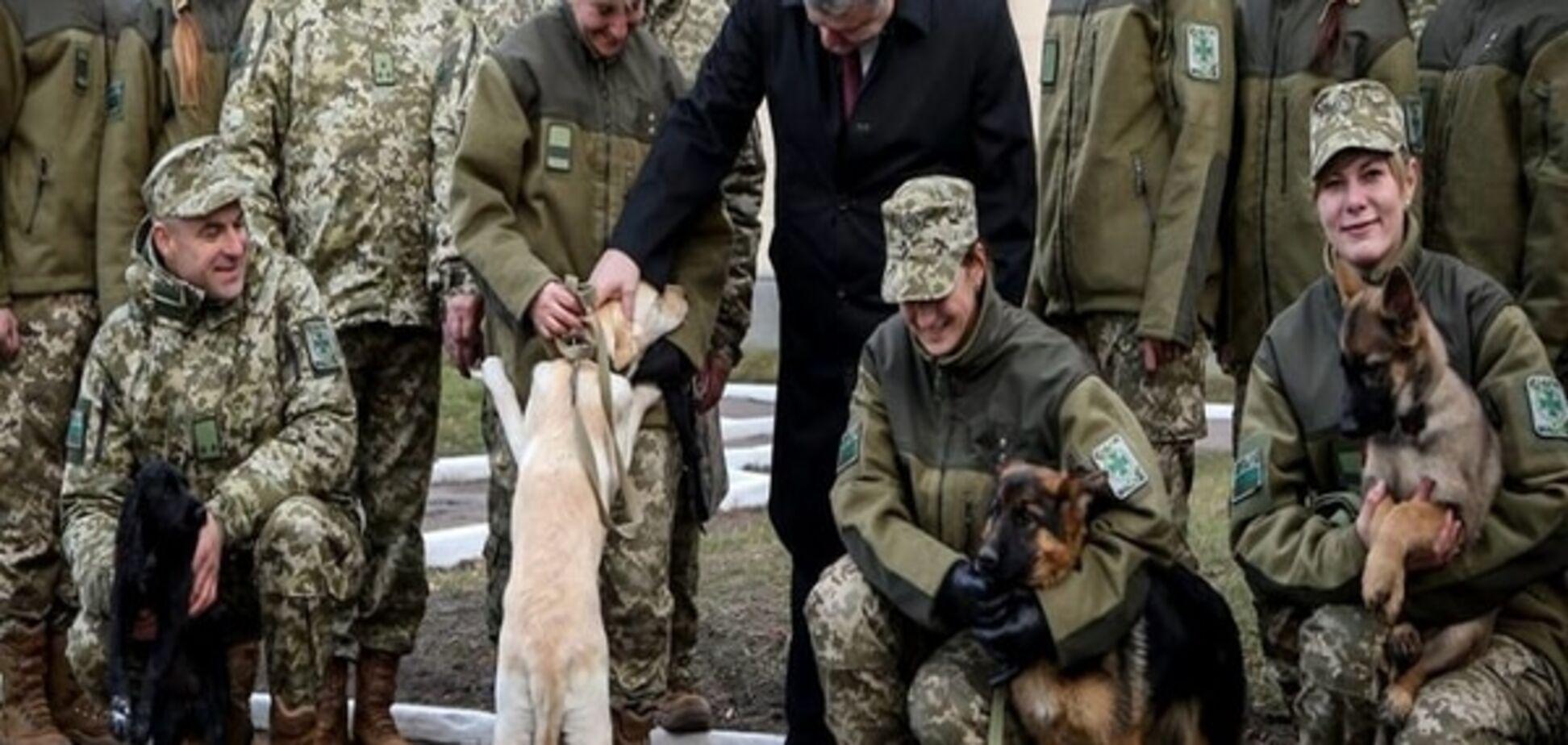 Порошенко потискав собак прикордонників: фотофакт