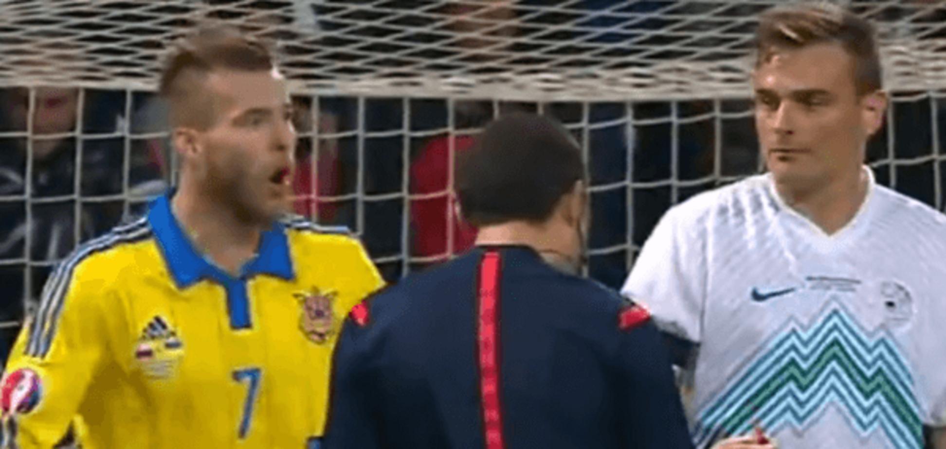 Ярмоленко ущипнул соперника в матче со Словенией: видео инцидента