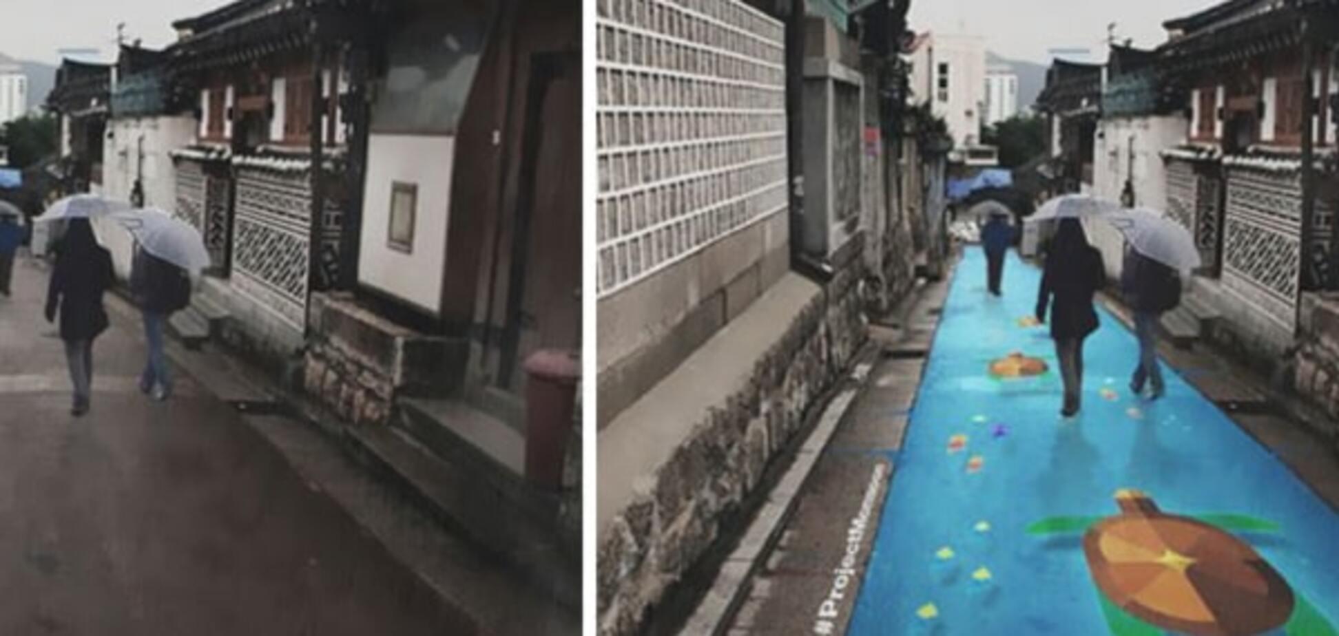 Вулиці Кореї після дощу прикрасили 'невидимі' картини: фотофакт