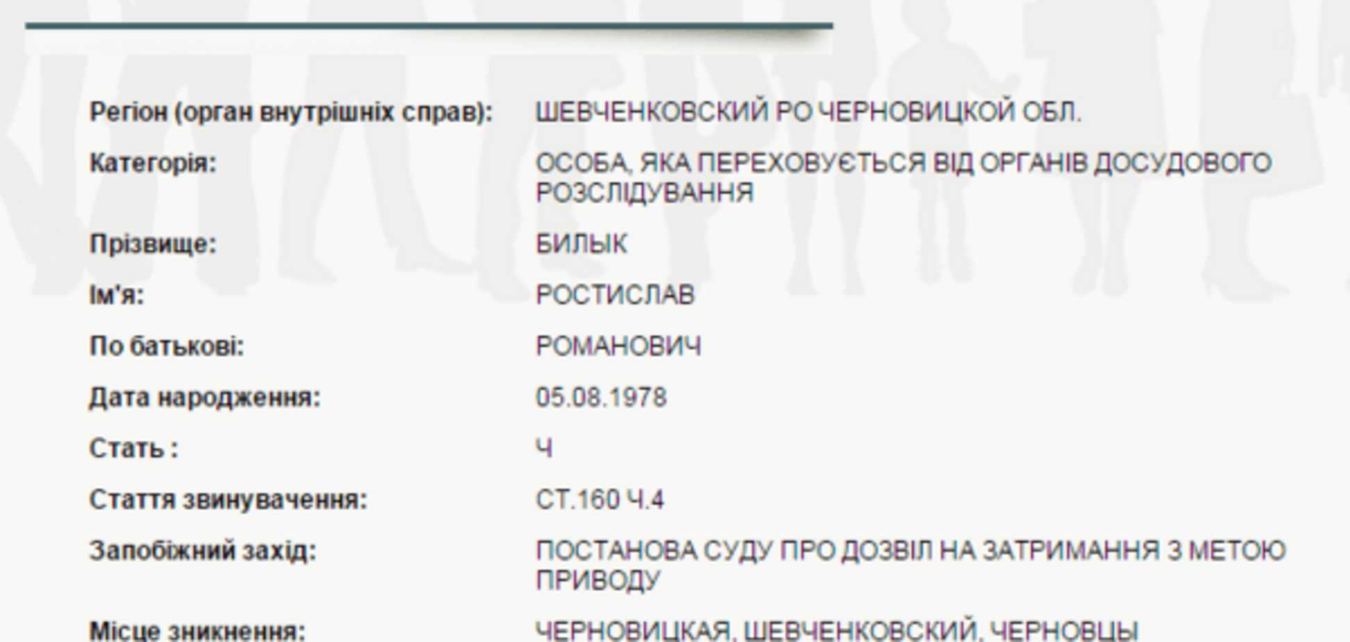 У Чернівцях оголосили в розшук кандидата в депутати