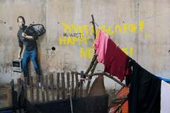 Джобс - мигрант из Сирии: Бэнкси представил атмосферное граффити