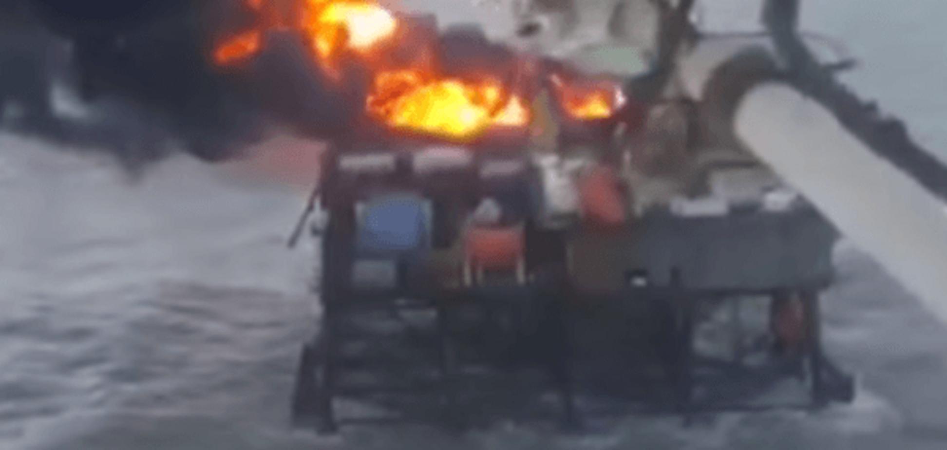 Опубліковано відео пожежі на нафтовій платформі в Каспійському морі