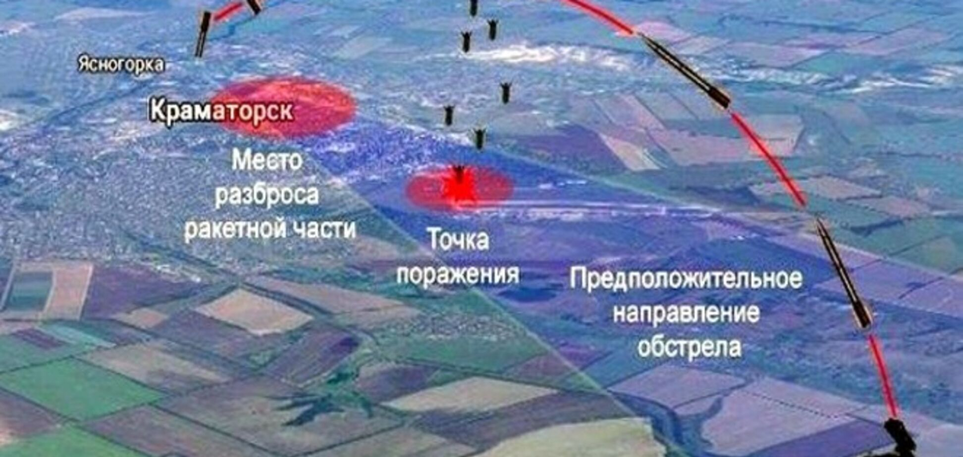 Опубліковано візуалізацію траєкторії польоту і попадання снарядів у Краматорську