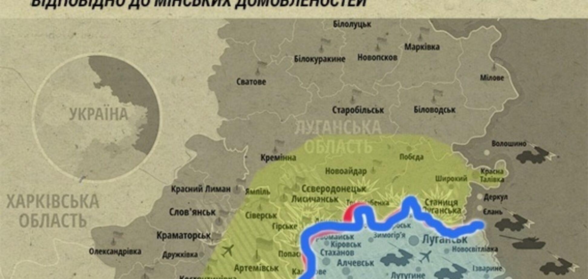 Куда стороны отведут вооружение согласно минскому соглашению: наглядная карта буферной зоны