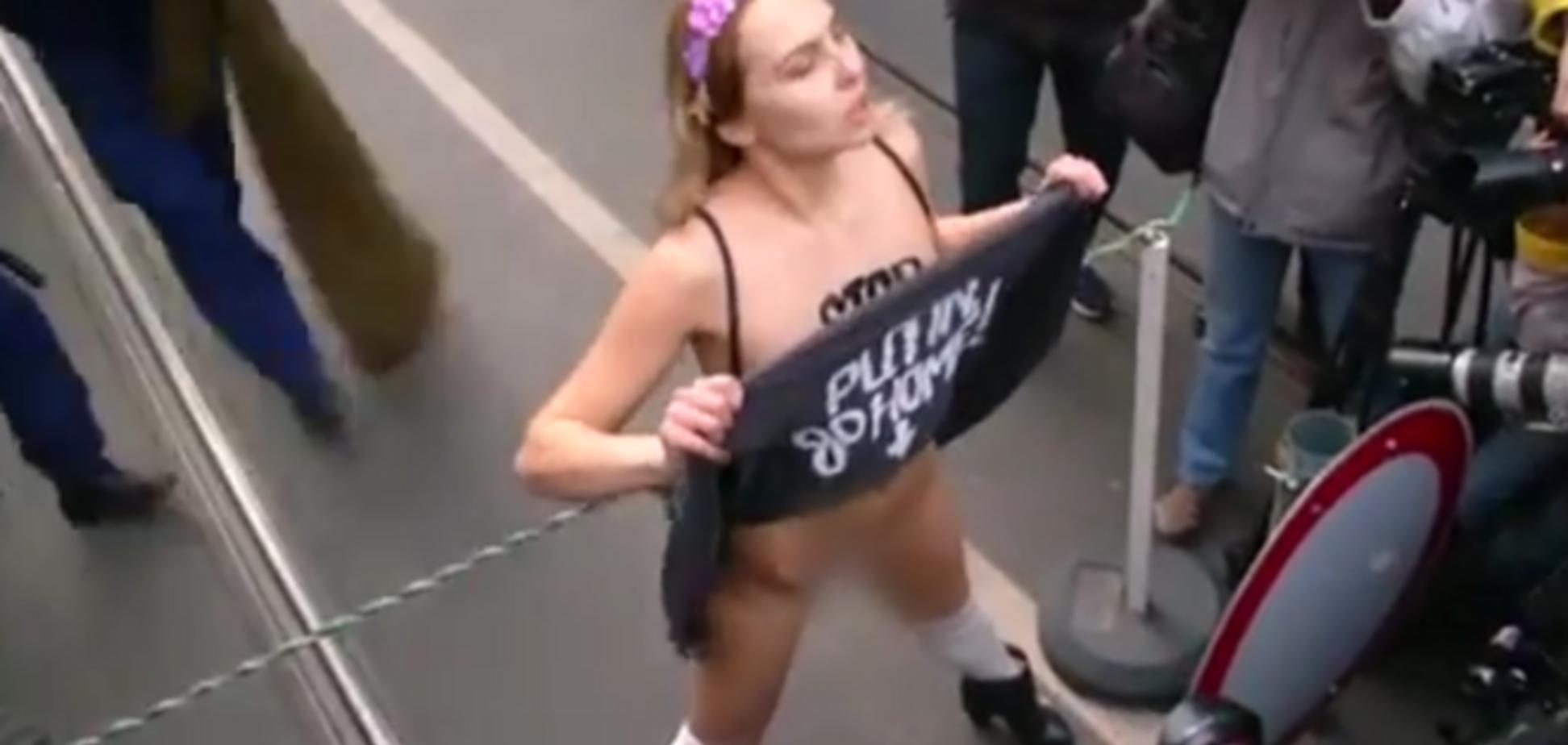'Х*йло, езжай домой!' Активистка Femen разделась в Будапеште из-за Путина: видеофакт