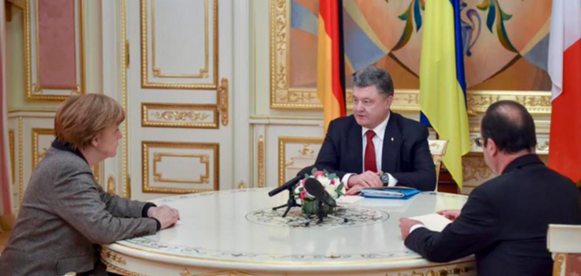 Порошенко, Меркель и Олланд призвали Путина немедленно вывести свои войска из Украины