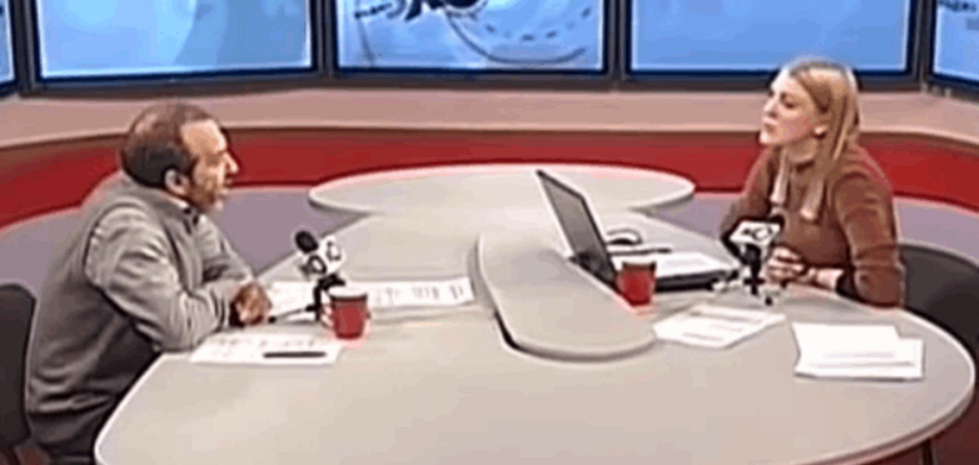 Російська журналістка осоромилася в прямому ефірі з Шендеровичем: Відеофакт