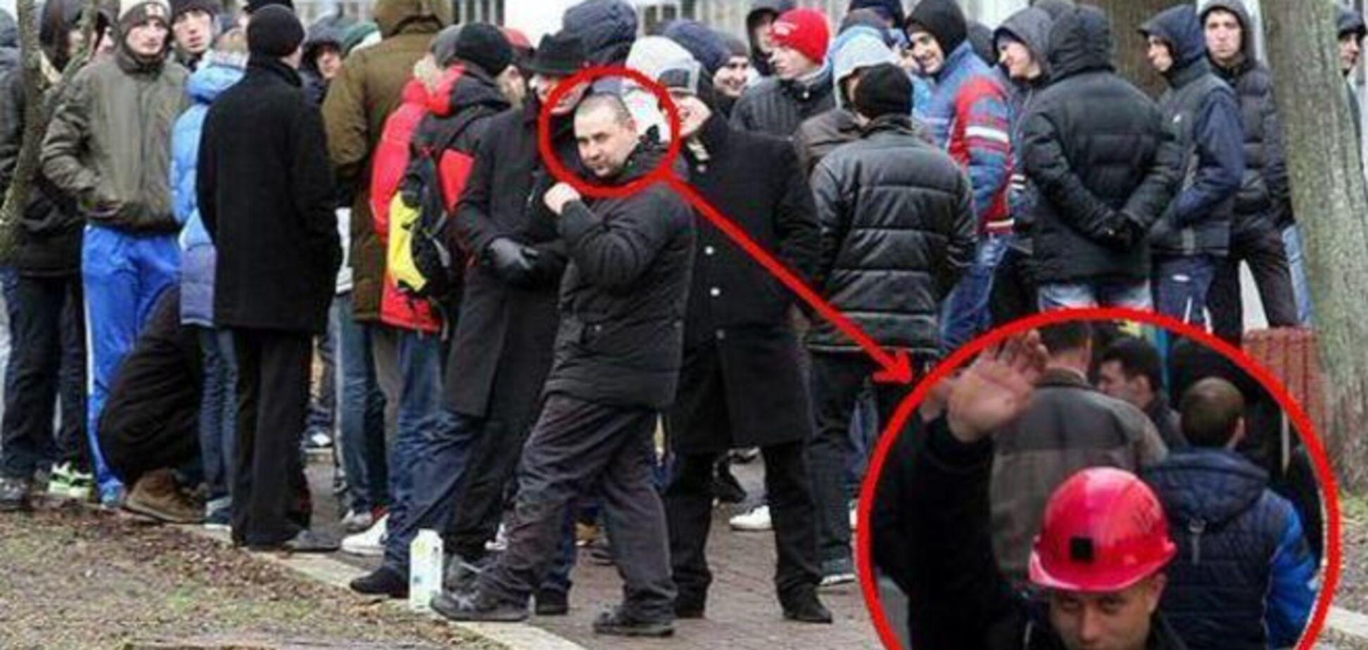 На протестах шахтеров в Киеве засветился 'титушка' с Антимайдана