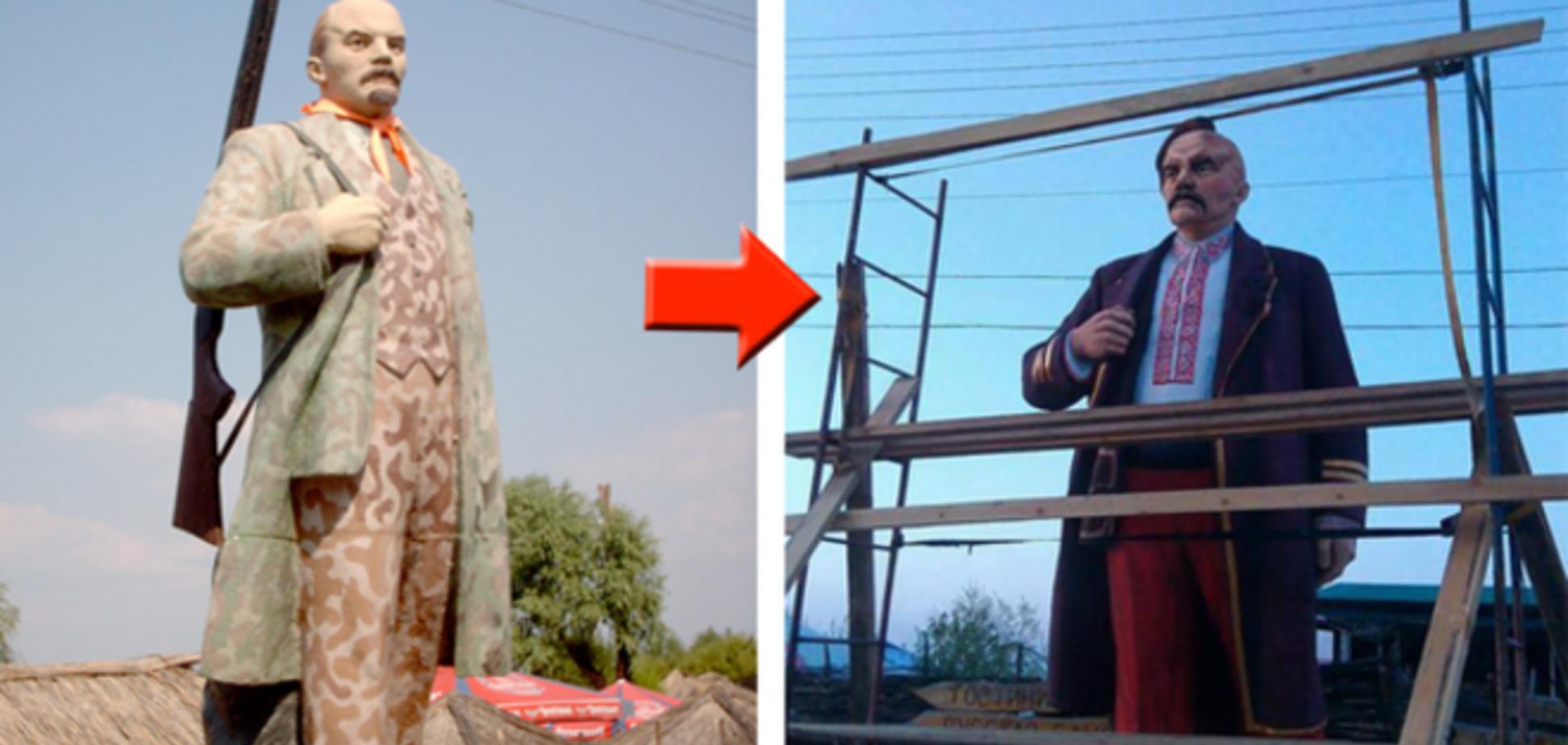 Легким движением руки в Черкассах Ленин-охотник превратился в казака: фотофакт