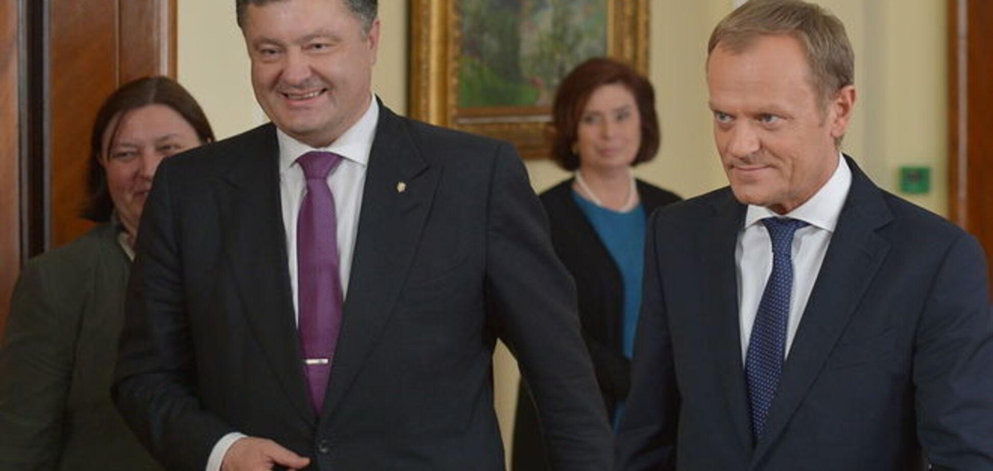 Порошенко попросил у Туска 'более четких европейских перспектив'