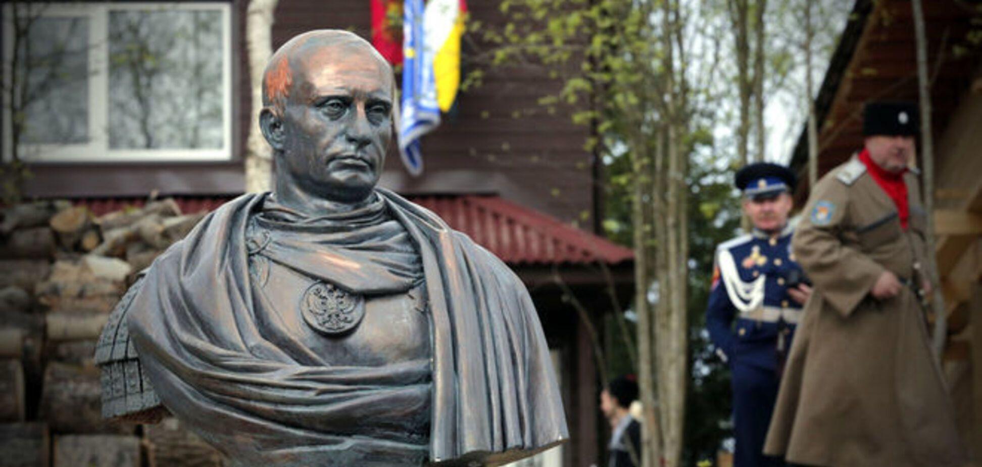 В Петербурге поставили памятник Путину в образе римского императора