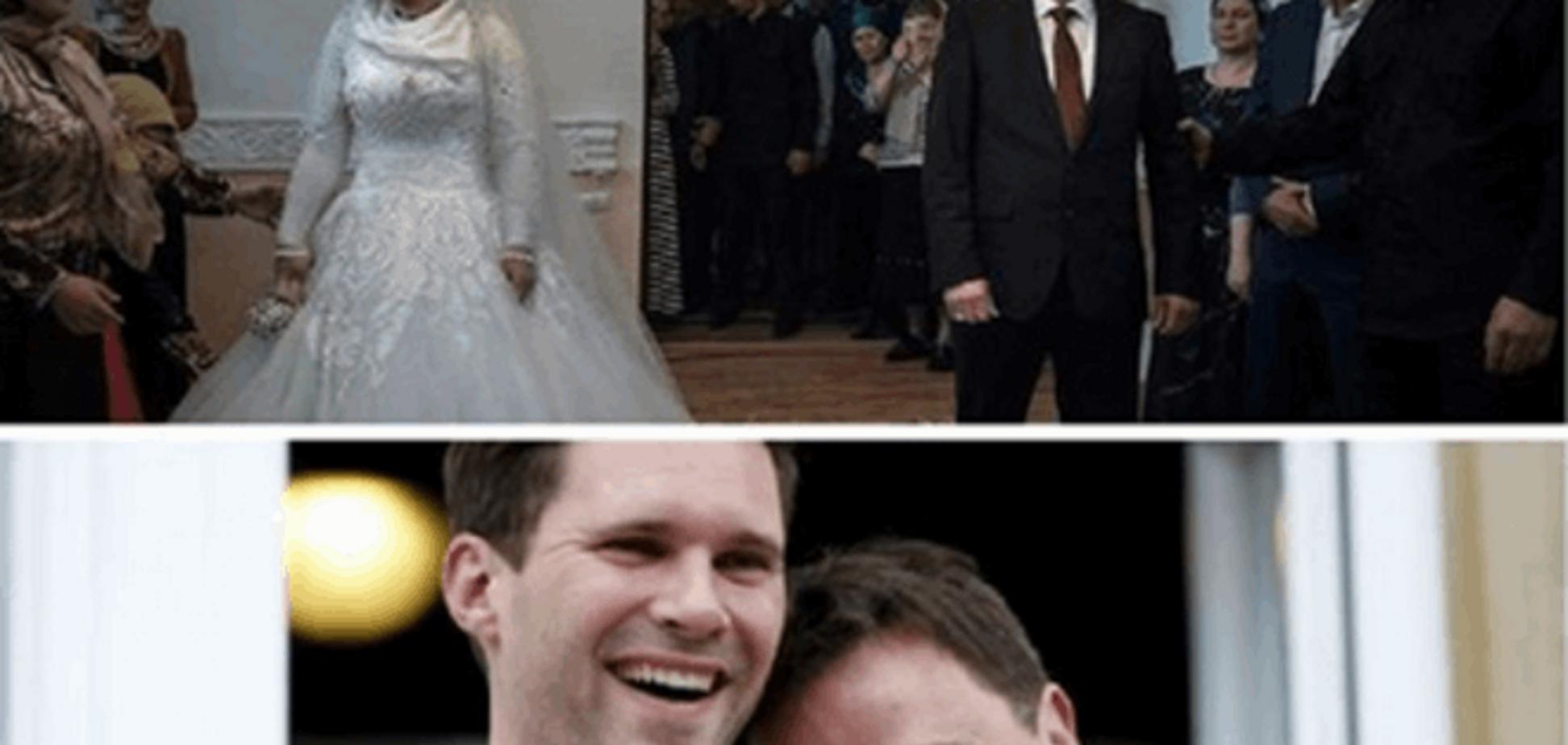 Кто счастливей? В сети сравнили неравный брак в Чечне и гей-свадьбу в Люксембурге: фотофакт