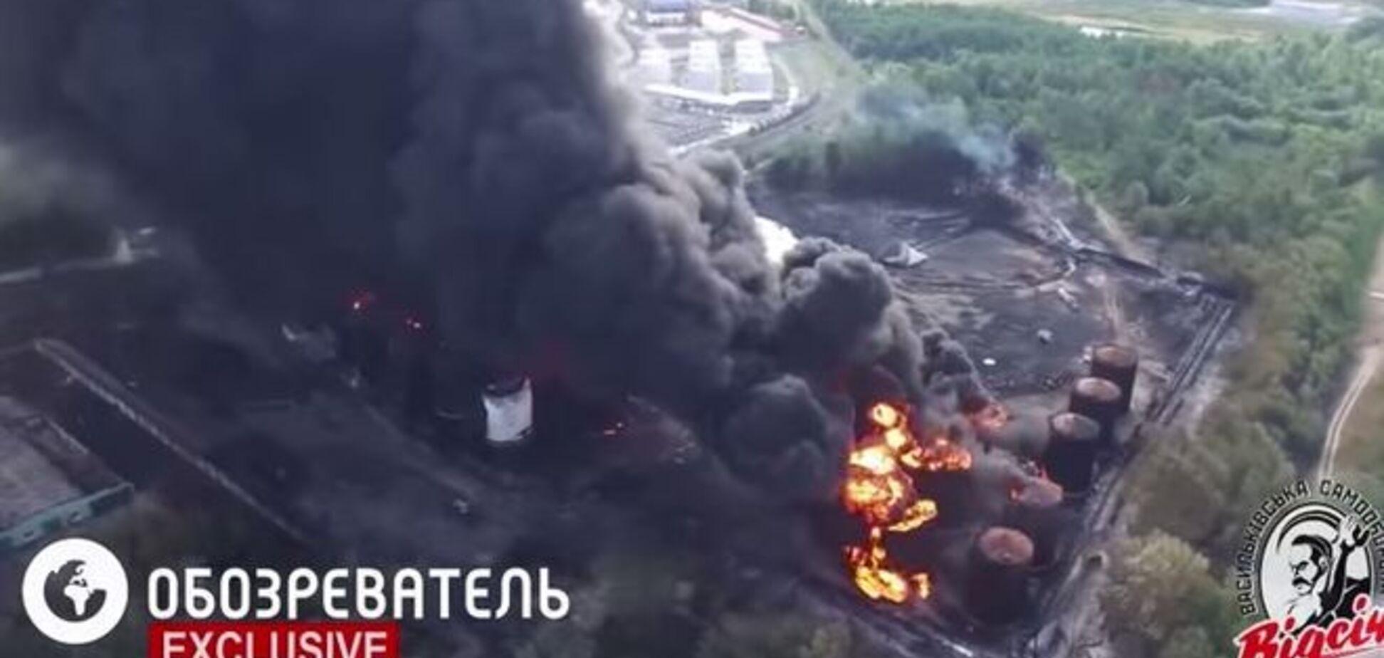 Опубликовано новое видео пожара на нефтебазе в Василькове, снятое с дрона