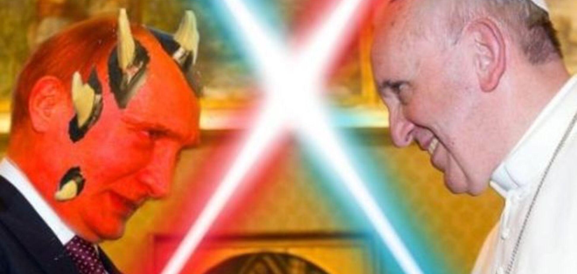 'Изыди, сатана!': соцсети взорвались фотожабами на встречу Путина и Папы