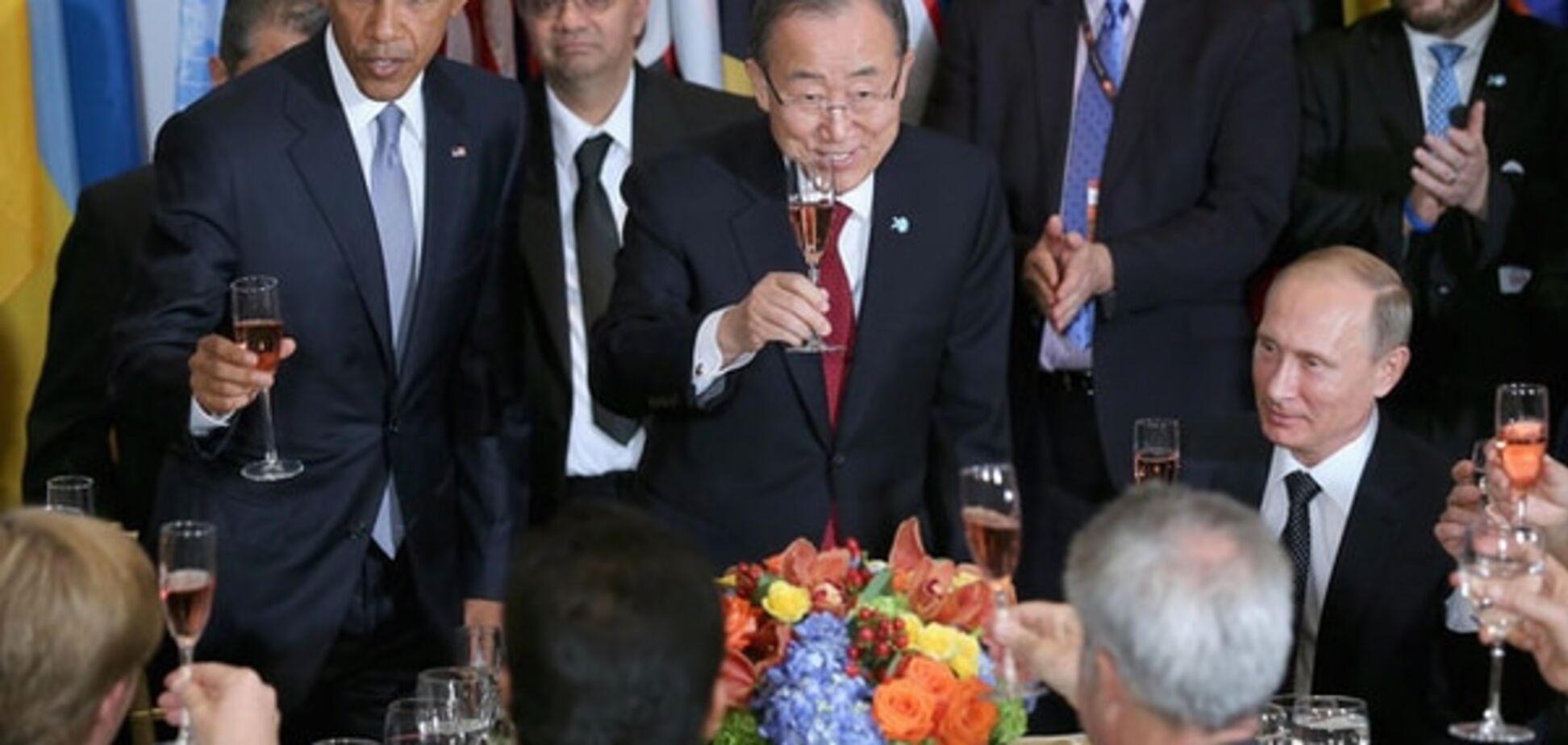 Не чокаясь: Обама предложил Путину выпить за 'ответственность перед людьми'. Видеофакт