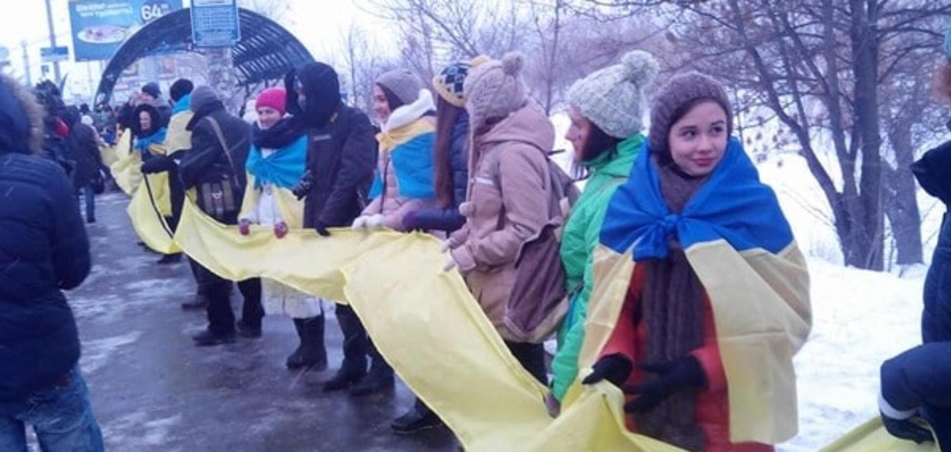 День Соборности Украины: в Киеве построили 'живую цепь'