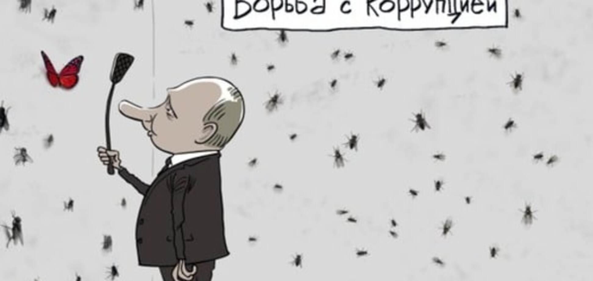 Охота на бабочек: борьбу Путина с коррупцией высмеяли в карикатуре. Фотофакт