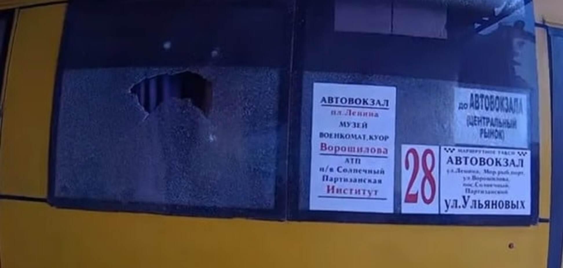 В оккупированном Крыму обстреляли маршрутку: опубликовано видео