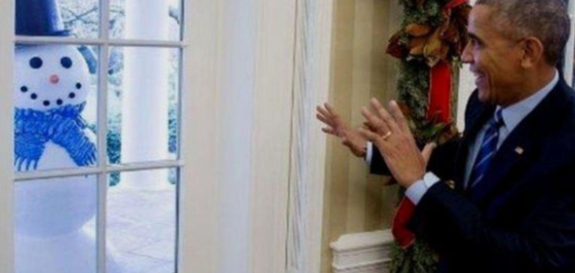Барак Обама и снеговик